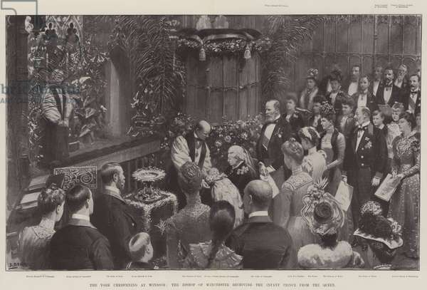 The York christening at Windsor, the Bishop of Winchester receiving the Infant Prince from the Queen (litho)