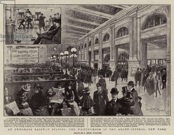 An Up-to-Date Railway Station, the Waiting-Room of the Grand Central, New York (litho)