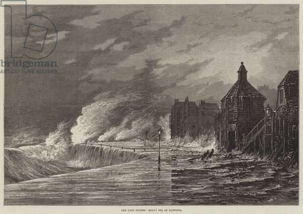 The late Storms, Heavy Sea at Hastings (engraving)