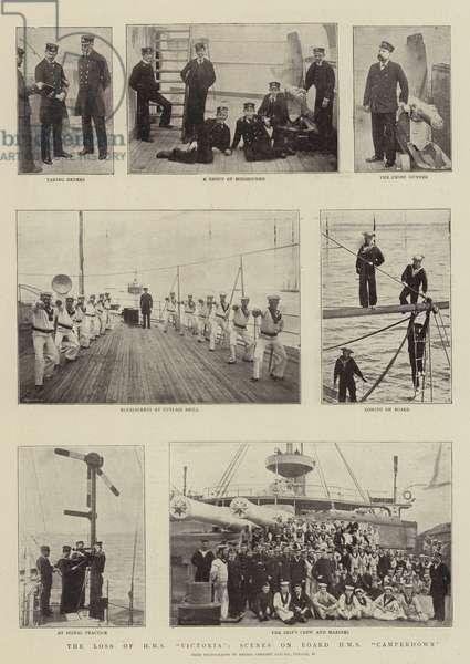 """The Loss of HMS """"Victoria"""", Scenes on Board HMS """"Camperdown"""" (b/w photo)"""