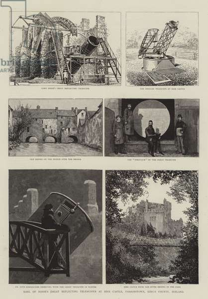 Earl of Rosse's Great Reflecting Telescopes at Birr Castle, Parsonstown, King's County, Ireland (engraving)
