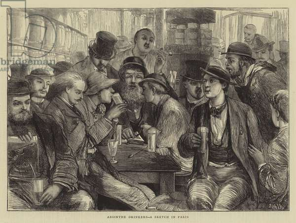 Absinthe Drinkers, a Sketch in Paris (engraving)