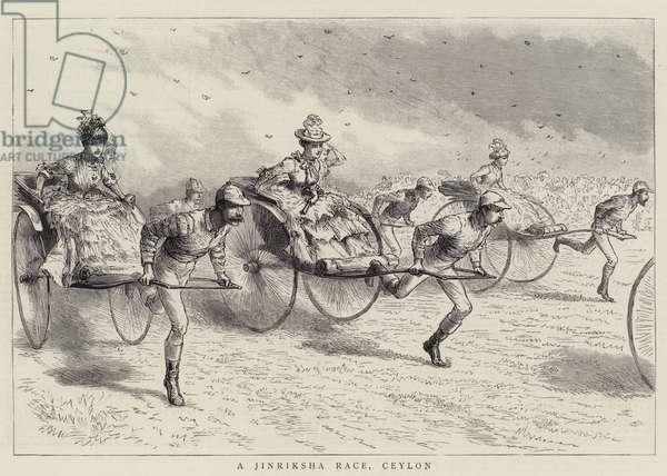 A Jinriksha Race, Ceylon (engraving)