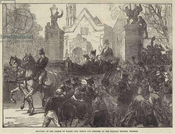 Recovery of the Prince of Wales, the Prince and Princess at the Railway Station, Windsor (engraving)