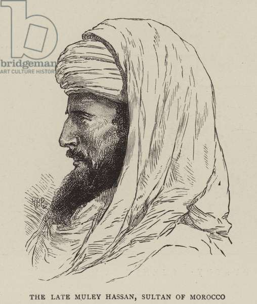 The late Muley Hassan, Sultan of Morocco (engraving)