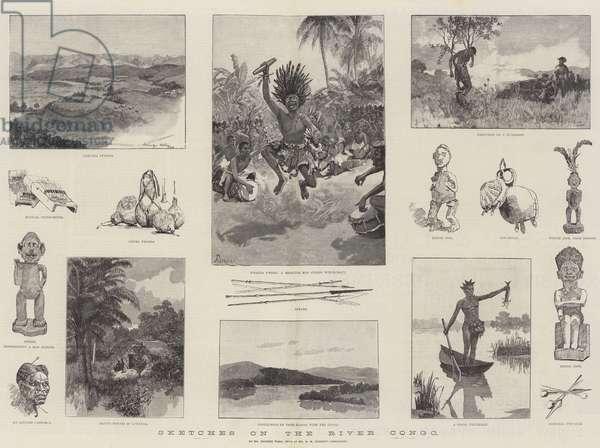 Sketches on the River Congo (engraving)