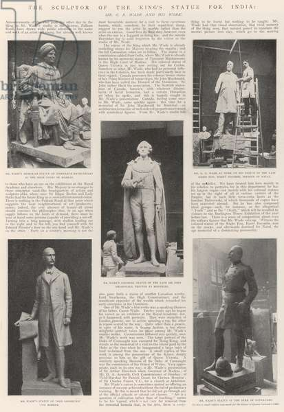 The Sculptor of the King's Statue for India, Mr G E Wade and his Work (engraving)