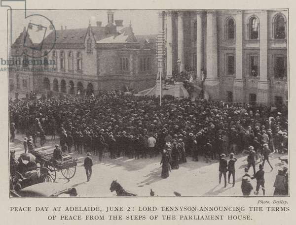 Peace Day at Adelaide, 2 June, Lord Tennyson announcing the Terms of Peace from the Steps of the Parliament House (b/w photo)
