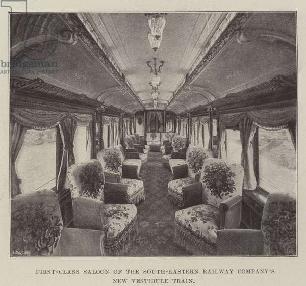 First-Class Saloon of the South-Eastern Railway Company's New Vestibule Train (b/w photo)