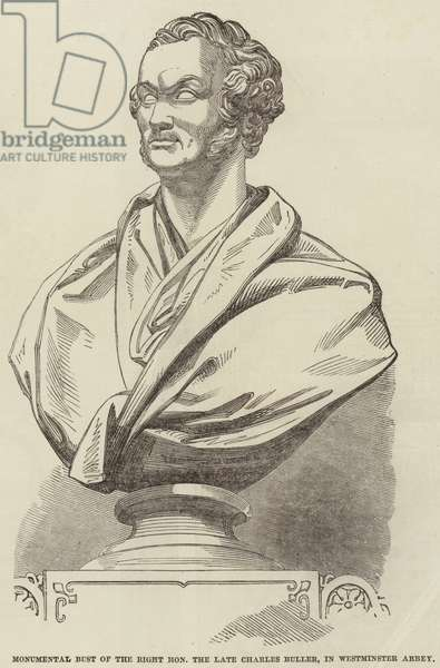 Monumental Bust of the Right Honourable the Late Charles Buller, in Westminster Abbey (engraving)