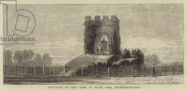 Monument to Captain Cook at Vache Park, Buckinghamshire (engraving)