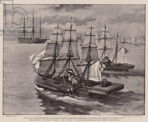The Model Warship Race, an Event in the Mediterranean Fleet Regatta (litho)