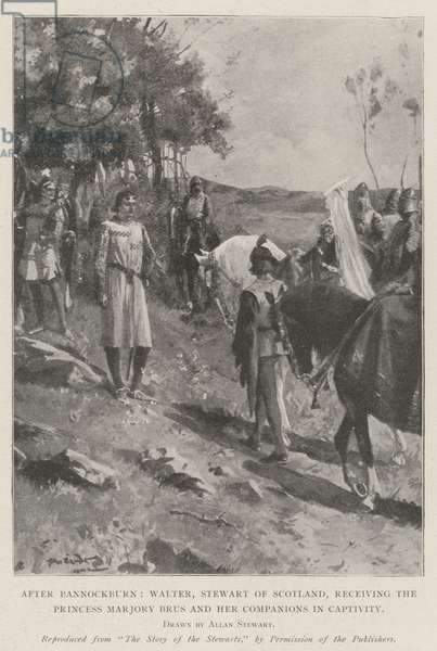 After Bannockburn, Walter, Stewart of Scotland, receiving the Princess Marjory Brus and her Companions in Captivity (litho)
