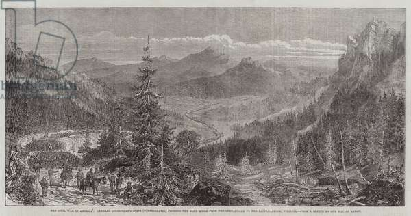 The Civil War in America, General Longstreet's Corps (Confederates) crossing the Blue Ridge from the Shenandoah to the Rappahannock, Virginia (engraving)