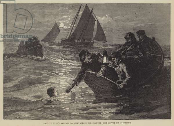 Captain Webb's attempt to swim across the Channel, Hot Coffee by Moonlight (engraving)
