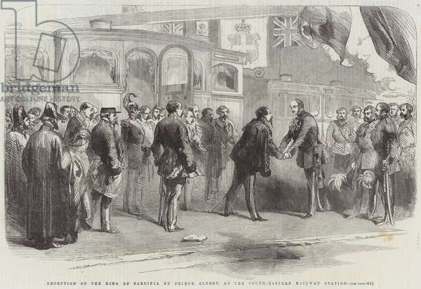Reception of the King of Sardinia by Prince Albert, at the South-Eastern Railway Station (engraving)
