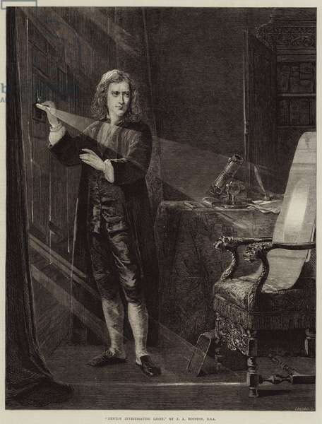 Newton investigating Light (engraving)