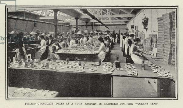 Filling Chocolate Boxes at a York Factory in Readiness for the