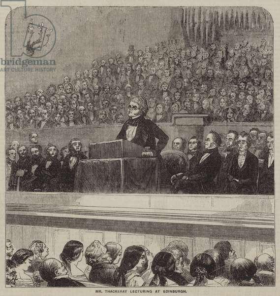 Mr Thackeray lecturing at Edinburgh (engraving)