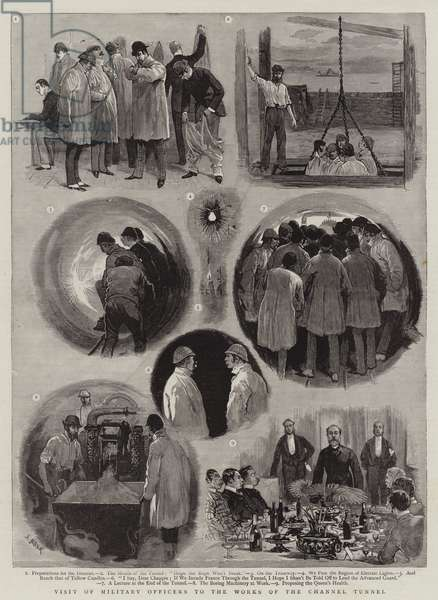 Visit of Military Officers to the Works of the Channel Tunnel (engraving)
