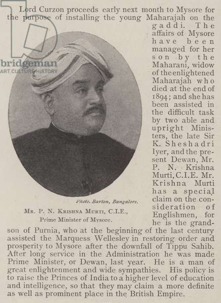 Mr P N Krishna Murti, CIE, Prime Minister of Mysore (b/w photo)