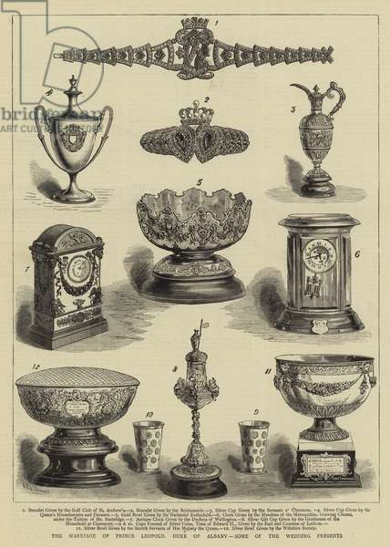 The Marriage of Prince Leopold, Duke of Albany, Some of the Wedding Presents (engraving)