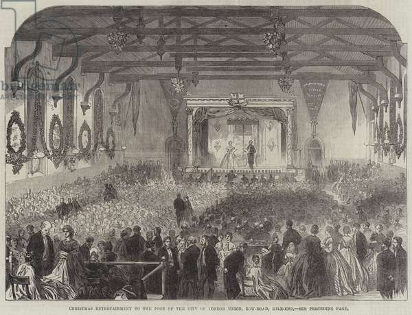 Christmas Entertainment to the Poor of the City of London Union, Bow-Road, Mile-End (engraving)