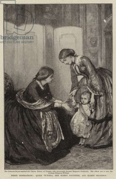 Three Generations, Queen Victoria, her Eldest Daughter, and Eldest Grandson (litho)