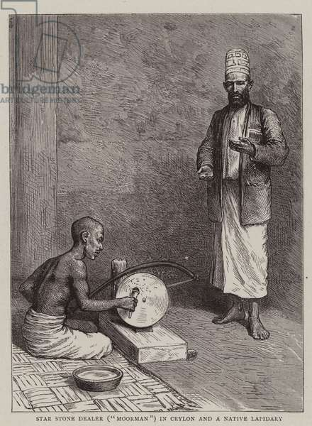 """Star Stone Dealer (""""Moorman"""") in Ceylon and a Native Lapidary (engraving)"""