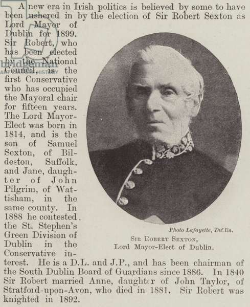 Sir Robert Sexton, Lord Mayor-Elect of Dublin (b/w photo)