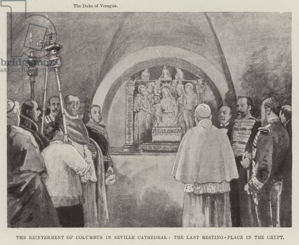 The Reinterment of Columbus in Seville Cathedral, the Last Resting-Place in the Crypt (engraving)