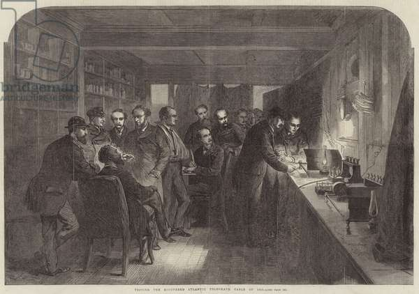 Testing the Recovered Atlantic Telegraph Cable of 1865 (engraving)
