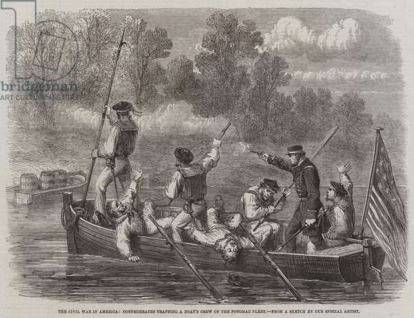 The Civil War in America, Confederates trapping a Boat's Crew of the Potomac Fleet (engraving)