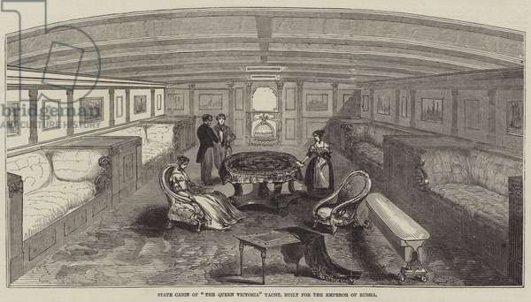 """State Cabin of """"The Queen Victoria"""" Yacht, built for the Emperor of Russia (engraving)"""