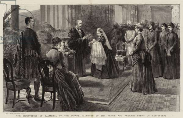 The Christening at Balmoral of the Infant Daughter of the Prince and Princess Henry of Battenberg (engraving)