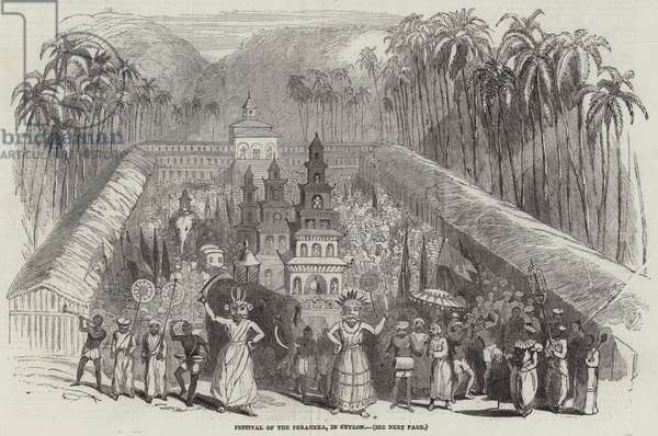 Festival of the Perahera, in Ceylon (engraving)