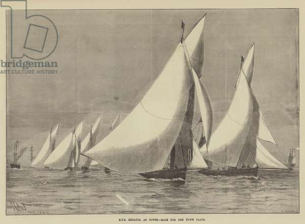 Royal Yacht Squadron Regatta at Cowes, Race for the Town Plate (engraving)