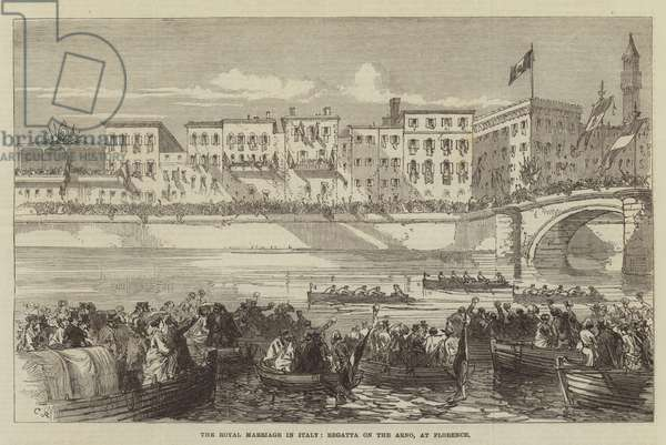 The Royal Marriage in Italy, Regatta on the Arno, at Florence (engraving)
