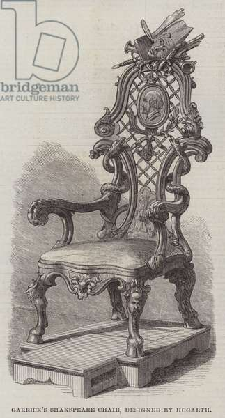 Garrick's Shakspeare Chair, designed by Hogarth (engraving)