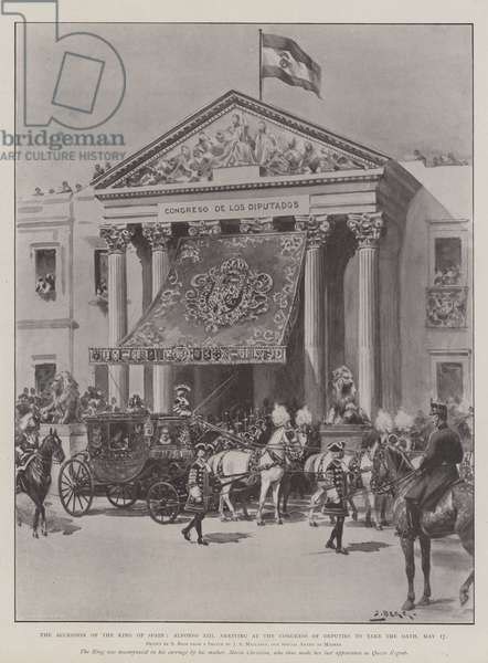 The Accession of the King of Spain, Alfonso XIII arriving at the Congress of Deputies to take the Oath, 17 May (engraving)