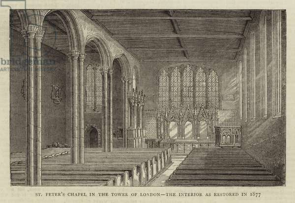 St Peter's Chapel in the Tower of London, the Interior as restored in 1877 (engraving)