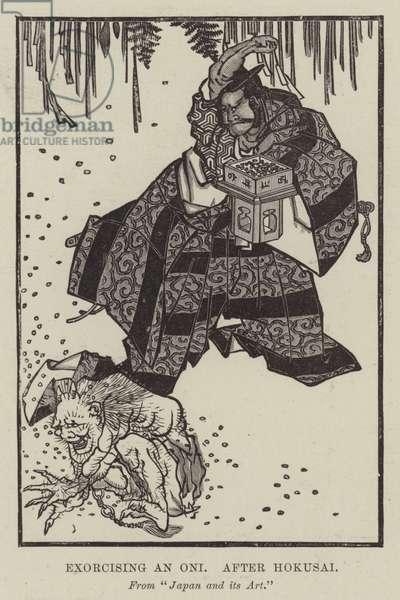 Exorcising an Oni, after Hokusai (engraving)