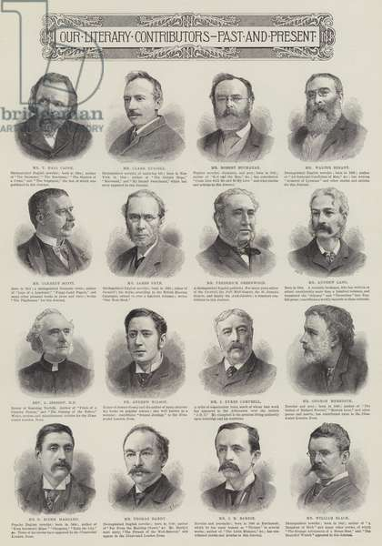 Our Literary Contributors, Past and Present (engraving)