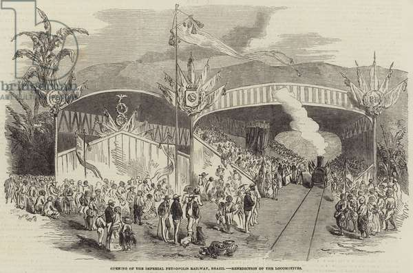 Opening of the Imperial Petropolis Railway, Brazil, Benediction of the Locomotives (engraving)