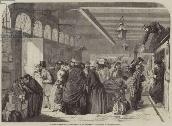 Hastings Railway Station, the Arrival of the Down-Train (engraving)