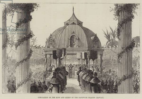 Coronation of the King and Queen of the Sandwich Islands, Hawaii (engraving)