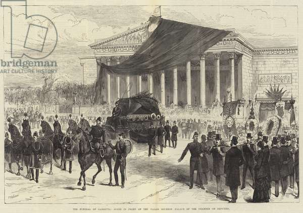 The Funeral of Gambetta, Scene in front of the Palais Bourbon, Palace of the Chamber of Deputies (engraving)