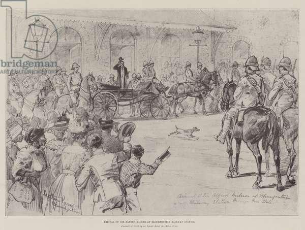 Arrival of Sir Alfred Milner at Bloemfontein Railway Station (engraving)
