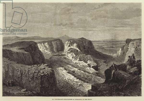 Dr Schliemann's Excavations at Hissarlik, in the Troad (engraving)