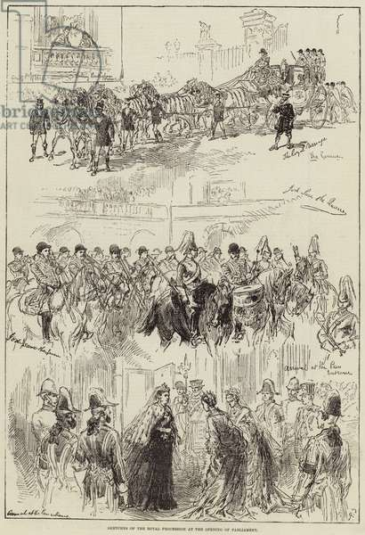 Sketches of the Royal Procession at the Opening of Parliament (engraving)